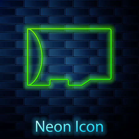Glowing neon line Micro SD memory card icon isolated on brick wall background. Vector