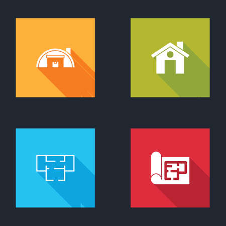 Set Warehouse, House, plan and icon. Vector