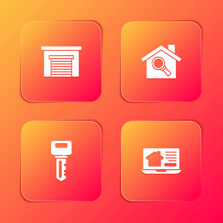 Set Garage, Search house, House key and Online real estate icon. Vector Vettoriali
