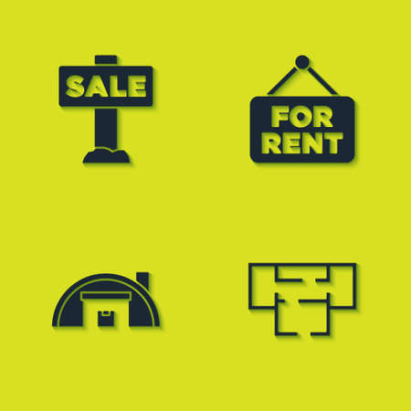 Set Hanging sign with Sale, House plan, Warehouse and For Rent icon. Vector