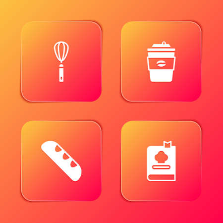 Set Kitchen whisk, Coffee cup to go, French baguette bread and Cookbook icon. Vector Ilustrace