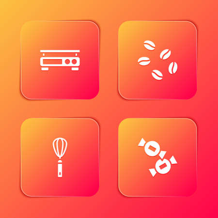 Set Electronic scales, Coffee beans, Kitchen whisk and Candy icon. Vector
