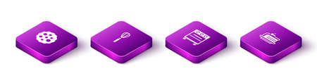 Set Isometric Cookie or biscuit, Kitchen whisk, Oven and Piece of cake icon. Vector Ilustrace