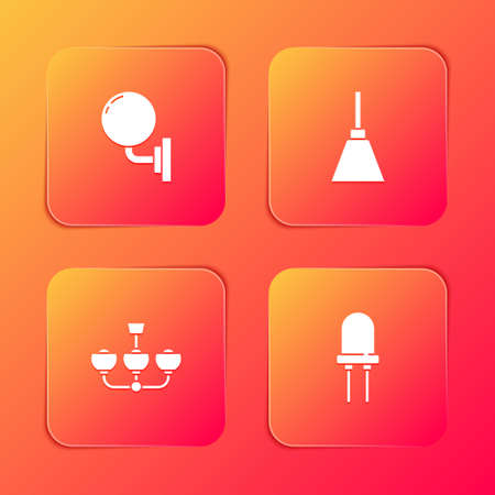 Set Wall lamp or sconce, Chandelier, and Light emitting diode icon. Vector