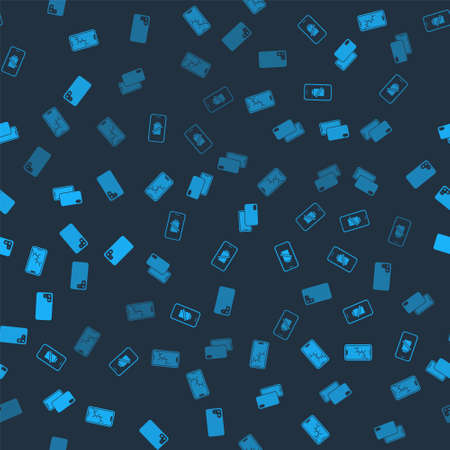 Set Mobile with broken screen, Smartphone battery charge, and on seamless pattern. Vector