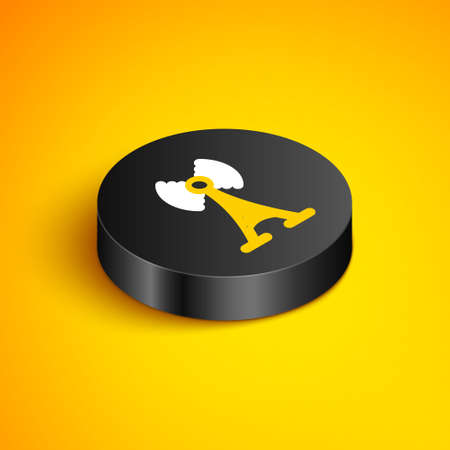 Isometric line Antenna icon isolated on yellow background. Radio antenna wireless. Technology and network signal radio antenna. Black circle button. Vector