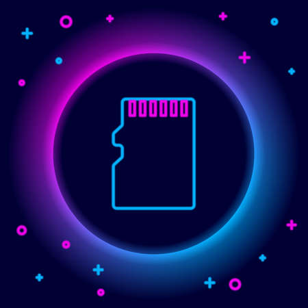 Glowing neon line Micro SD memory card icon isolated on black background. Colorful outline concept. Vector
