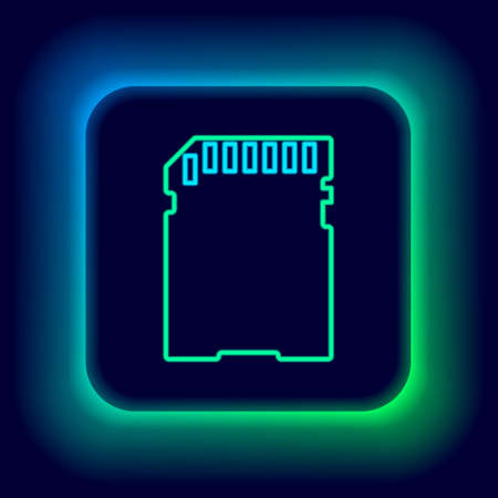 Glowing neon line SD card icon isolated on black background. Memory card. Adapter icon. Colorful outline concept. Vector