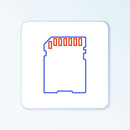 Line SD card icon isolated on white background. Memory card. Adapter icon. Colorful outline concept. Vector Иллюстрация
