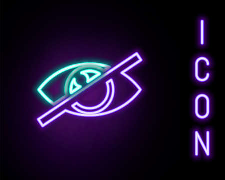 Glowing neon line Invisible or hide icon isolated on black background. Colorful outline concept. Vector