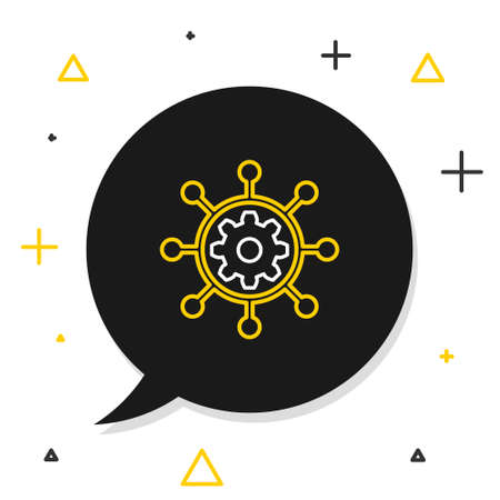 Line Project management icon isolated on white background. Hub and spokes and gear solid icon. Colorful outline concept. Vector