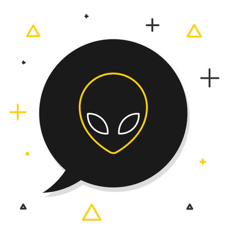 Line Alien icon isolated on white background. Extraterrestrial alien face or head symbol. Colorful outline concept. Vector