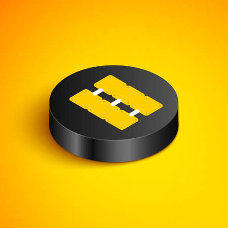 Isometric line Mining farm icon isolated on yellow background. Cryptocurrency mining, blockchain technology, bitcoin, digital money market, cryptocoin wallet. Black circle button. Vector