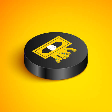 Isometric line Cryptocurrency bitcoin in circle with microchip circuit icon isolated on yellow background. Blockchain technology, digital money market. Black circle button. Vector