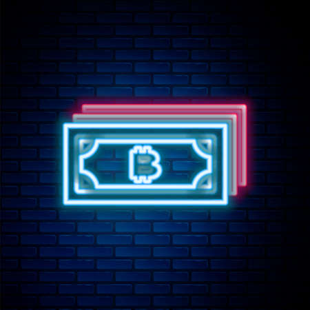 Glowing neon line Cryptocurrency bitcoin in circle with microchip circuit icon isolated on brick wall background. Blockchain technology, digital money market. Colorful outline concept. Vector Ilustrace