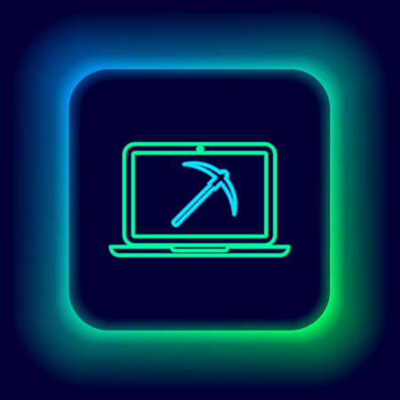 Glowing neon line Mining concept with laptop and pickaxe icon isolated on black background. Blockchain technology, cryptocurrency mining, digital money market. Colorful outline concept. Vector