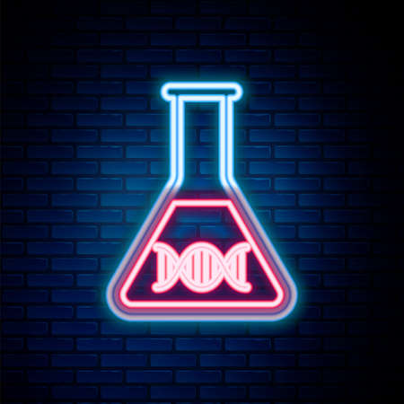 Glowing neon line DNA research, search icon isolated on brick wall background. Genetic engineering, genetics testing, cloning, paternity testing. Colorful outline concept. Vector