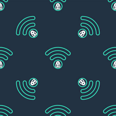 Line Wifi locked sign icon isolated seamless pattern on black background. Password Wifi symbol. Wireless Network icon. Wifi zone. Vector