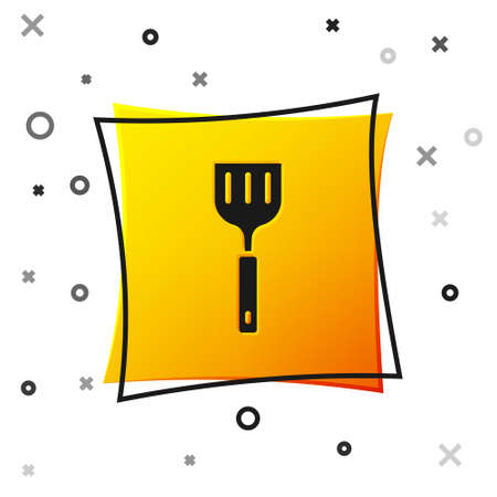 Black Spatula icon isolated on white background. Kitchen spatula icon. BBQ spatula sign. Barbecue and grill tool. Yellow square button. Vector Vektorové ilustrace