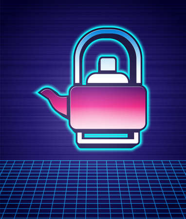 Retro style Kettle with handle icon isolated futuristic landscape background. Teapot icon. 80s fashion party. Vector  イラスト・ベクター素材