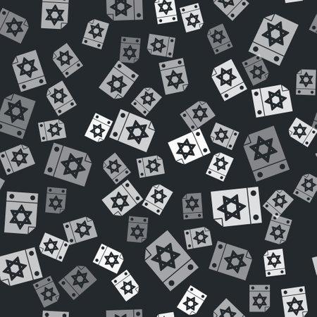 Grey Jewish calendar with star of david icon isolated seamless pattern on black background. Hanukkah calendar day. Vector 向量圖像