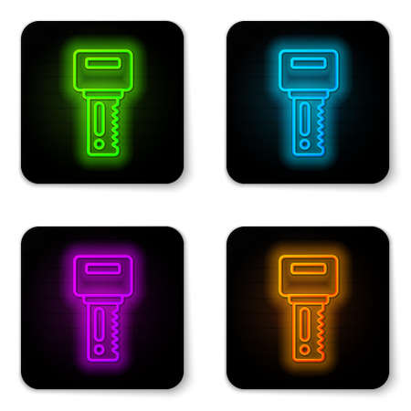 Glowing neon line Car key with remote icon isolated on white background. Car key and alarm system. Black square button. Vector