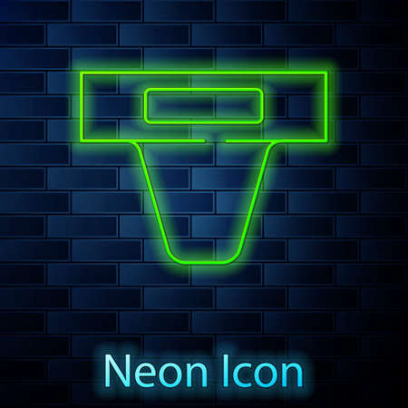 Glowing neon line Groin guard for martial arts icon isolated on brick wall background. Vector