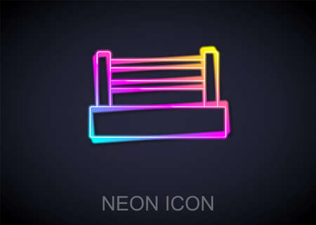 Glowing neon line Boxing ring icon isolated on black background. Vector