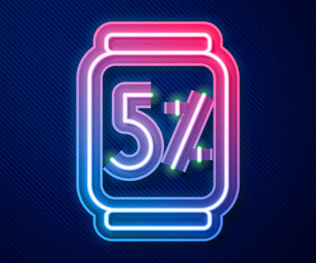 Glowing neon line Beer can icon isolated on blue background. Vector