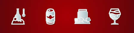Set Cold beer bottle, Beer can, and Glass of icon. Vector