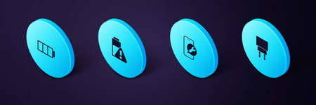 Set Isometric Charger, Mobile service, Smartphone battery charge and Battery icon. Vector