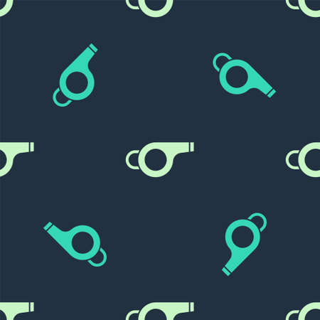 Green and beige Whistle icon isolated seamless pattern on blue background. Referee symbol. Fitness and sport sign. Vector