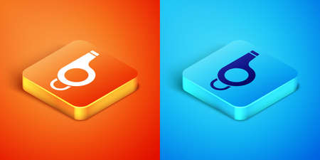 Isometric Whistle icon isolated on orange and blue background. Referee symbol. Fitness and sport sign. Vector
