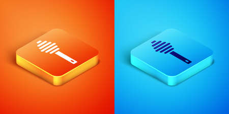Isometric Honey dipper stick icon isolated on orange and blue background. Honey ladle. Vector