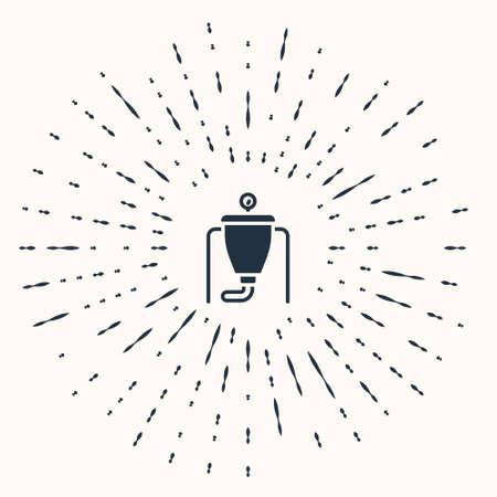 Grey Beer brewing process icon isolated on beige background. Abstract circle random dots. Vector