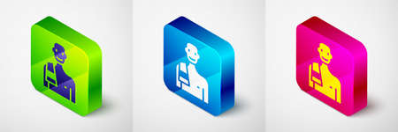 Isometric Man in the sauna icon isolated on grey background. Square button. Vector