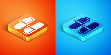 Isometric Sauna slippers icon isolated on orange and blue background. Vector