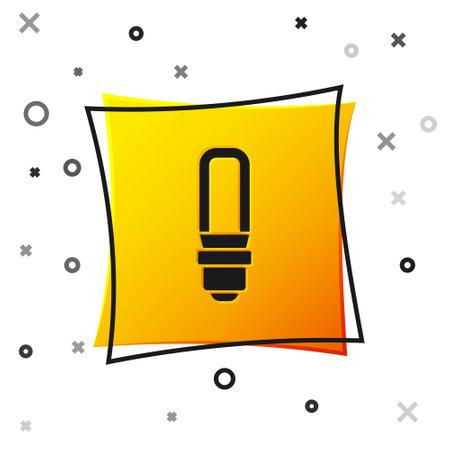 Black LED light bulb icon isolated on white background. Economical LED illuminated lightbulb. Save energy lamp. Yellow square button. Vector