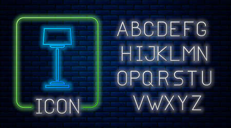 Glowing neon Floor lamp icon isolated on brick wall background. Neon light alphabet. Vector