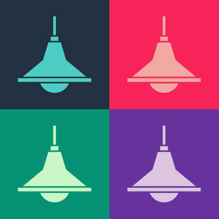 Pop art Chandelier icon isolated on color background. Vector
