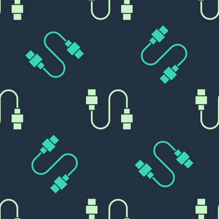 Green and beige USB cable cord icon isolated seamless pattern on blue background. Connectors and sockets for PC and mobile devices. Vector