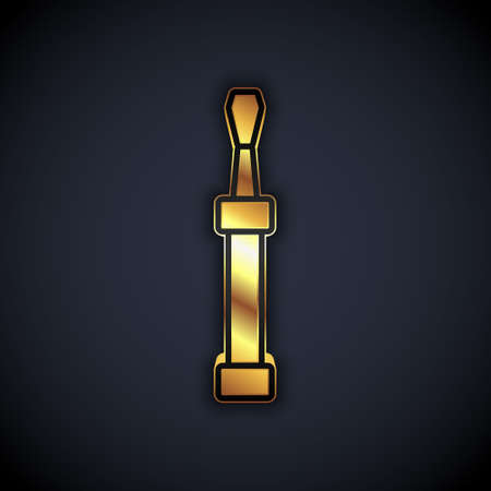 Gold Screwdriver icon isolated on black background. Service tool symbol. Vector