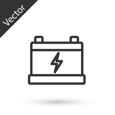 Grey line Car battery icon isolated on white background. Accumulator battery energy power and electricity accumulator battery. Vector