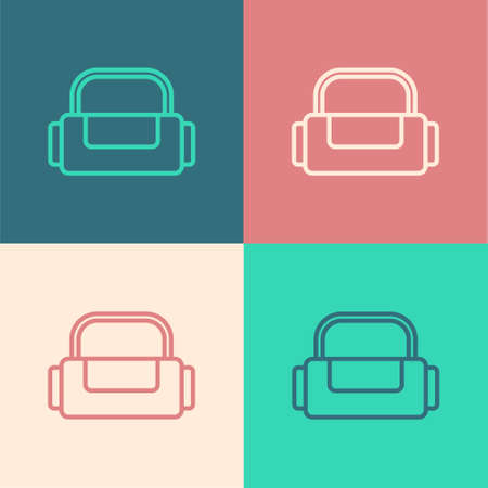 Pop art line Sport bag icon isolated on color background. Vector