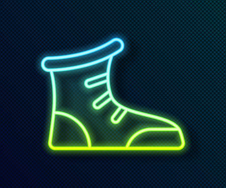 Glowing neon line Sport boxing shoes icon isolated on black background. Wrestling shoes. Vector
