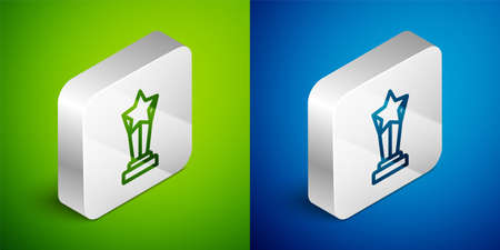 Isometric line Award cup icon isolated on green and blue background. Winner trophy symbol. Championship or competition trophy. Sports achievement sign. Silver square button. Vector Ilustracja