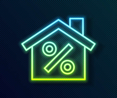 Glowing neon line House with percant discount tag icon isolated on black background. Real estate home. Credit percentage symbol. Vector