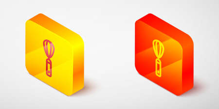Isometric line Kitchen whisk icon isolated on grey background. Cooking utensil, egg beater. Cutlery sign. Food mix symbol. Yellow and orange square button. Vector