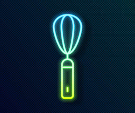 Glowing neon line Kitchen whisk icon isolated on black background. Cooking utensil, egg beater. Cutlery sign. Food mix symbol. Vector