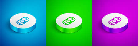 Isometric line Beer can icon isolated on blue,green and purple background. White circle button. Vector  イラスト・ベクター素材